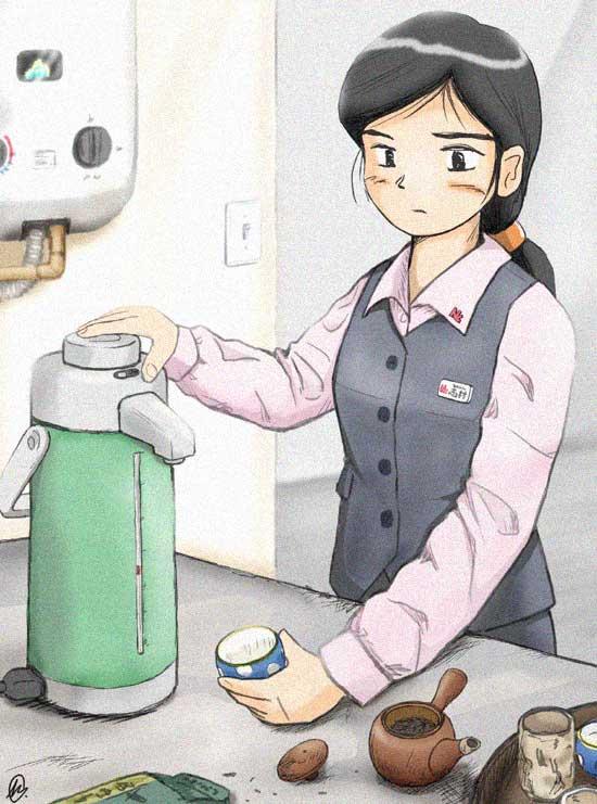 Office Lady making tea