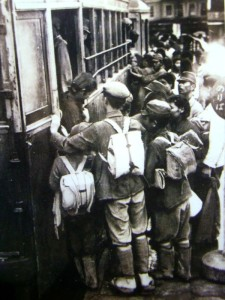 train and students